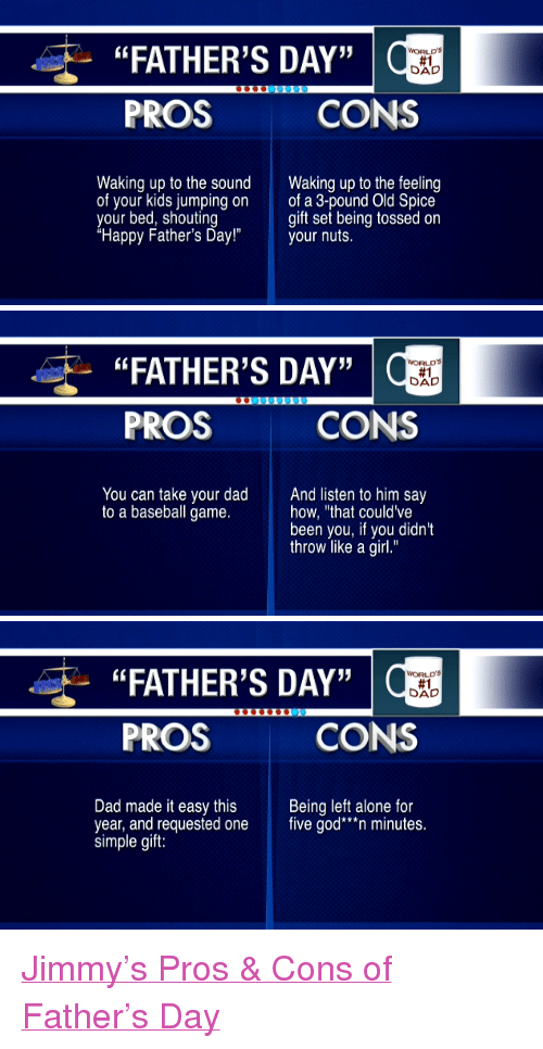 """Being Alone, Baseball, and Dad: """"FATHER'S DAY""""  PROS  WORLDS  #1  CONS  Waking up to the sound  of your kids jumping on  your bed, shouting  """"Happy Father's Day!""""  akng up to the feeling  of a 3-pound Old Spice  gift set being tossed on  your nuls.   """"FATHER'S DAY""""  PROS  WORLD'S  #1  CONS  You can take your dad  to a baseball game.  And listen to him say  how, """"that couldve  been you, if you didn't  throw like a girl.""""   """"FATHER'S DAY""""  PROS  WORLDS  #1  CONS  Dad made it easy this Being left alone for  year, and requested one five god""""n minutes  simple gift: <p><a href=""""http://www.latenightwithjimmyfallon.com/video/pros-and-cons-fathers-day/n17462/"""" target=""""_blank"""">Jimmy&rsquo;s Pros &amp; Cons of Father&rsquo;s Day</a></p>"""