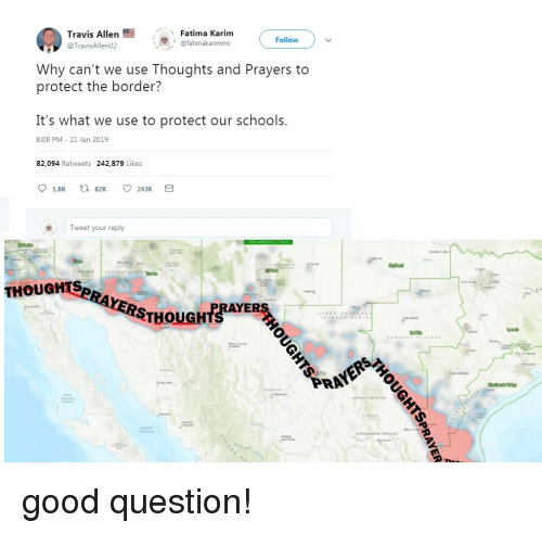 Funny, Good, and Fatima: Fatima Karim  Travis Allen  @TravisAllen02  Follow  fatimakarimms  Why can't we use Thoughts and Prayers to  protect the border?  It's what we use to protect our schools.  8:08 PM 21 Jan 2019  82,094 Retweets 242,879 Likes  eTweet your reply  HOUOMISPRAYERSTHOuaHt good question!