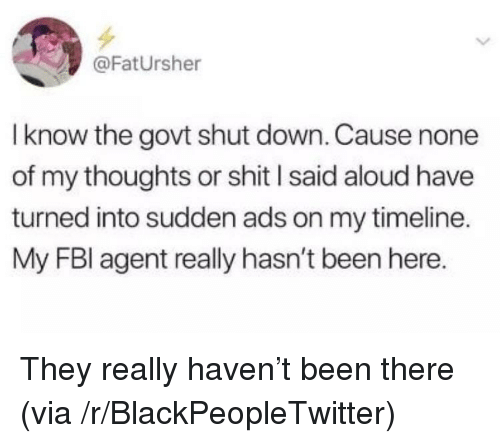 Blackpeopletwitter, Shit, and Been: @FatUrsher  I know the govt shut down. Cause none  of my thoughts or shit l said aloud have  turned into sudden ads on my timeline.  My FBl agent really hasn't been here. They really haven't been there (via /r/BlackPeopleTwitter)