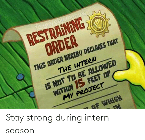 stay: fb.me/objcmemes  RESTRAINING  ORDER  THIS ORDER HEREBY DECLARES THAT  THE INTERN  IS NOT TO BE ALLOWED  WITHIN 15 FEET OF  MY PROJECT  OF WHICH Stay strong during intern season