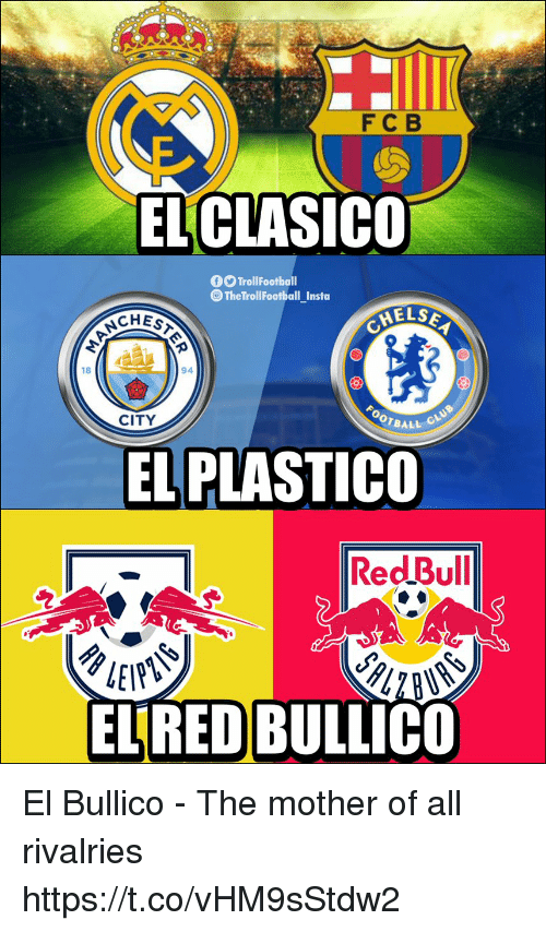 Memes, 🤖, and Mother: FC B  EL CLASICO  fTrollFootball  TheTrollFootball_Insta  ELSE  CHES  94  18  OTBALL  CITY  EL PLASTICO  RedBull  ELRED BULLICO El Bullico - The mother of all rivalries https://t.co/vHM9sStdw2