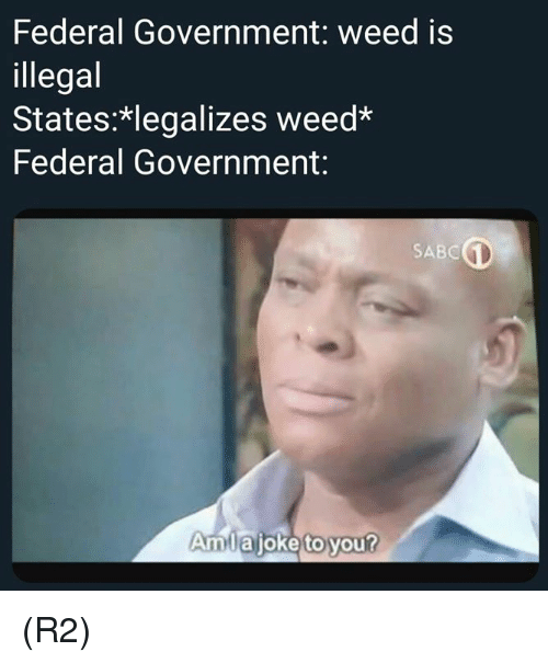 Memes, Weed, and Government: Federal Government: weed is  illegal  States: legalizes weed  Federal Government:  SABC  Amlajoke to you? (R2)