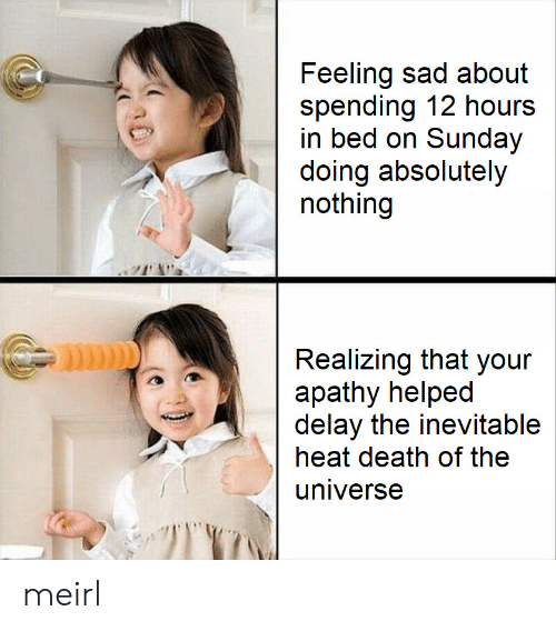 Apathy, Death, and Heat: Feeling sad about  spending 12 hours  in bed on Sunday  doing absolutely  nothing  Realizing that your  apathy helped  delay the inevitable  heat death of the  universe meirl