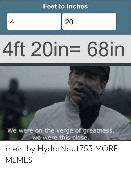 greatness: Feet to Inches  4  20  4ft 20in= 68in  We were on the verge of greatness,  we were this close. meirl by HydraNaut753 MORE MEMES