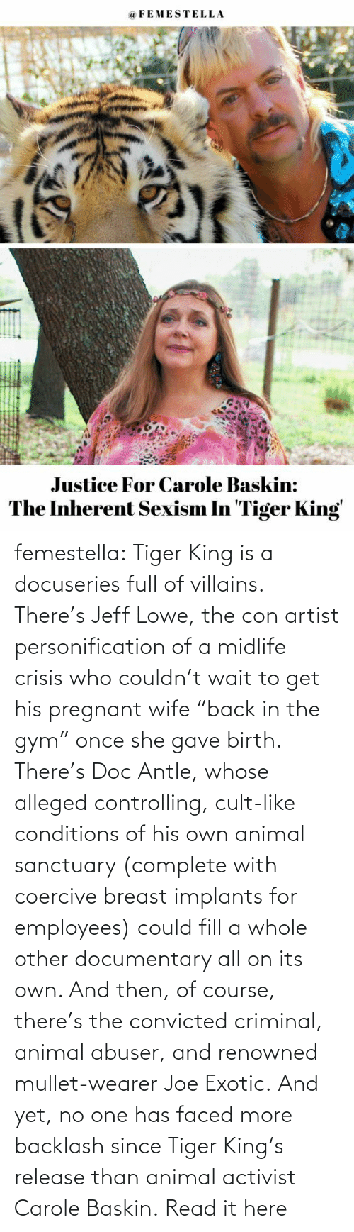 "of course: femestella: Tiger King is a docuseries full of villains. There's Jeff Lowe, the con artist personification of a midlife crisis who couldn't wait to get his pregnant wife ""back in the gym"" once she gave birth. There's Doc Antle, whose alleged controlling, cult-like conditions of his own animal sanctuary (complete with coercive breast implants for employees) could fill a whole other documentary all on its own. And then, of course, there's the convicted criminal, animal abuser, and renowned mullet-wearer Joe Exotic. And yet, no one has faced more backlash since Tiger King's release than animal activist Carole Baskin. Read it here"