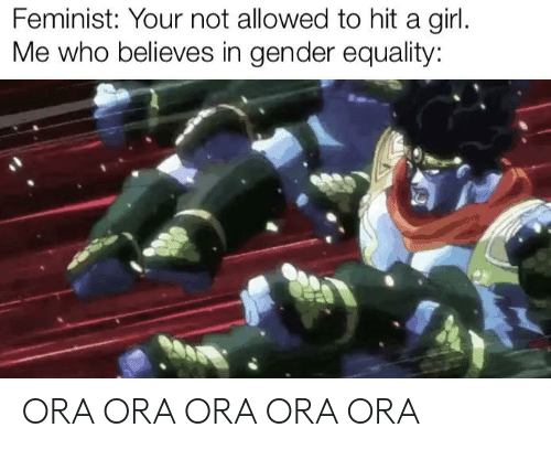 gender: Feminist: Your not allowed to hit a girl.  Me who believes in gender equality: ORA ORA ORA ORA ORA