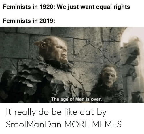 Equal Rights: Feminists in 1920: We just want equal rights  Feminists in 2019:  The age of Men is over. It really do be like dat by SmolManDan MORE MEMES