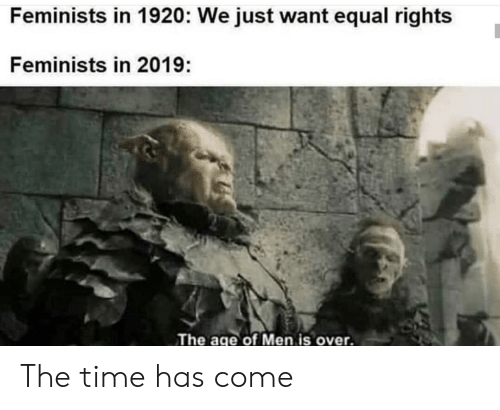 Equal Rights: Feminists in 1920: We just want equal rights  Feminists in 2019:  The age of Men is over. The time has come