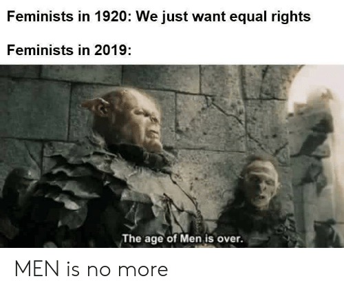 More, Men, and Just: Feminists in 1920: We just want equal rights  Feminists in 2019:  The age of Men is over. MEN is no more