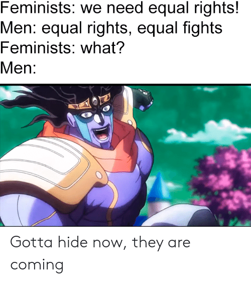 Hide, They, and Now: Feminists: we need equal rights!  Men: equal rights, equal fights  Feminists: what?  Men: Gotta hide now, they are coming