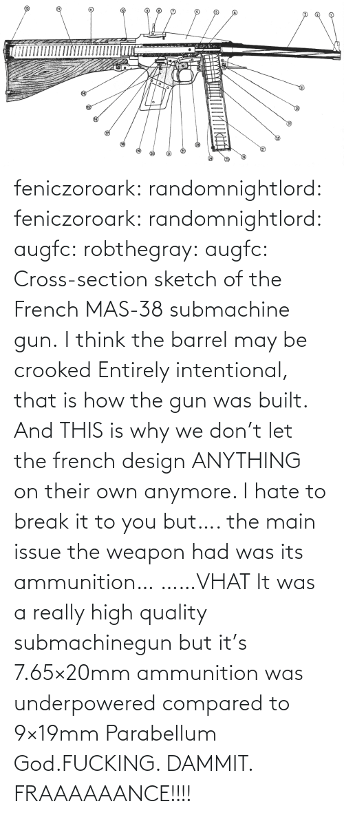 This Is Why: feniczoroark:  randomnightlord:  feniczoroark:  randomnightlord:  augfc: robthegray:  augfc:  Cross-section sketch of the French MAS-38 submachine gun.   I think the barrel may be crooked  Entirely intentional, that is how the gun was built.    And THIS is why we don't let the french design ANYTHING on their own anymore.    I hate to break it to you but…. the main issue the weapon had was its ammunition…   ……VHAT   It was a really high quality submachinegun but it's 7.65×20mm ammunition was underpowered compared to 9×19mm Parabellum   God.FUCKING. DAMMIT. FRAAAAAANCE!!!!