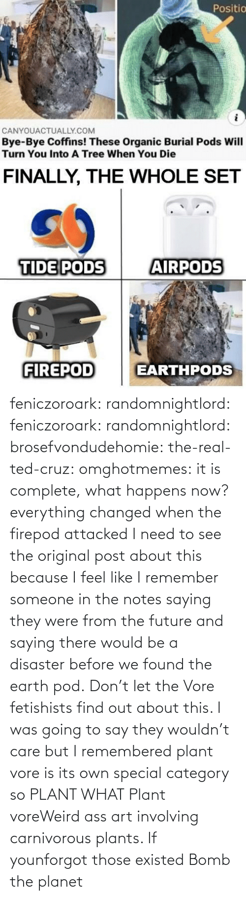someone: feniczoroark:  randomnightlord:  feniczoroark:  randomnightlord:  brosefvondudehomie: the-real-ted-cruz:  omghotmemes: it is complete, what happens now? everything changed when the firepod attacked    I need to see the original post about this because I feel like I remember someone in the notes saying they were from the future and saying there would be a disaster before we found the earth pod.    Don't let the Vore fetishists find out about this.    I was going to say they wouldn't care but I remembered plant vore is its own special category so   PLANT WHAT   Plant voreWeird ass art involving carnivorous plants. If younforgot those existed   Bomb the planet