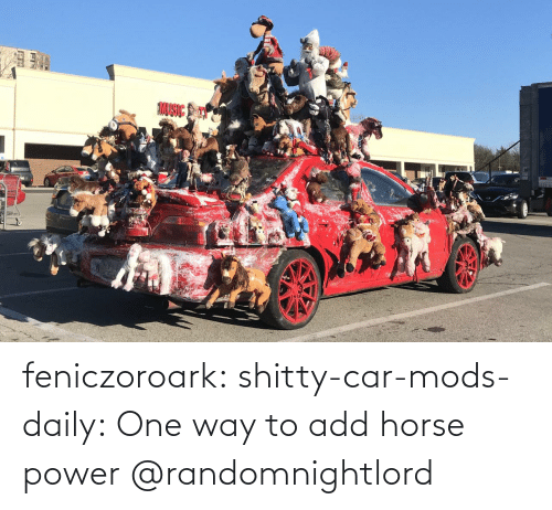 Horse: feniczoroark:  shitty-car-mods-daily:  One way to add horse power   @randomnightlord