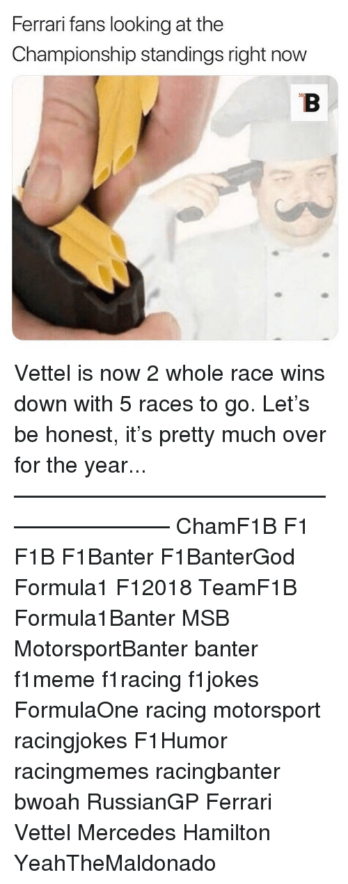 Ferrari, Memes, and Mercedes: Ferrari fans looking at the  Championship standings right now Vettel is now 2 whole race wins down with 5 races to go. Let's be honest, it's pretty much over for the year... ————————————————————— ChamF1B F1 F1B F1Banter F1BanterGod Formula1 F12018 TeamF1B Formula1Banter MSB MotorsportBanter banter f1meme f1racing f1jokes FormulaOne racing motorsport racingjokes F1Humor racingmemes racingbanter bwoah RussianGP Ferrari Vettel Mercedes Hamilton YeahTheMaldonado