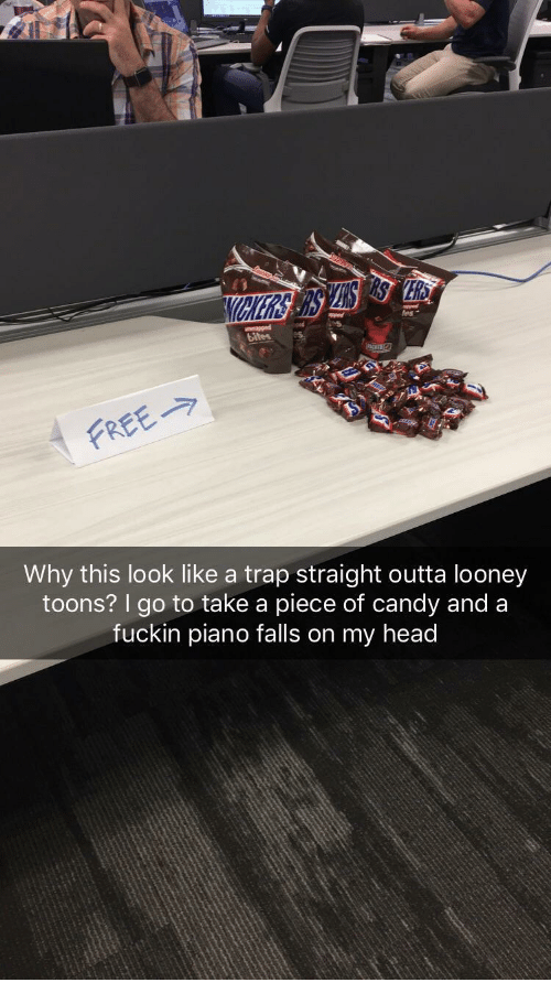 Candy, Head, and Straight Outta: fes  FREE  Why this look like a trap straight outta looney  toons? I go to take a piece of candy and a  fuckin piano falls on my head