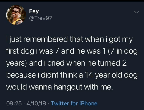 14 Year: Fey  @Trev97  l just remembered that when i got my  first dog i was 7 and he was 1 (7 in dog  years) and i cried when he turned 2  because i didnt think a 14 year old dog  would wanna hangout with me.  09:25 4/10/19 Twitter for iPhone