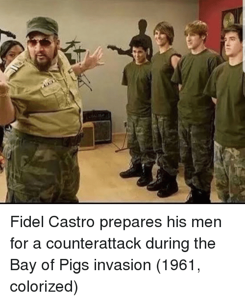 Fidel: Fidel Castro prepares his men for a counterattack during the Bay of Pigs invasion (1961, colorized)