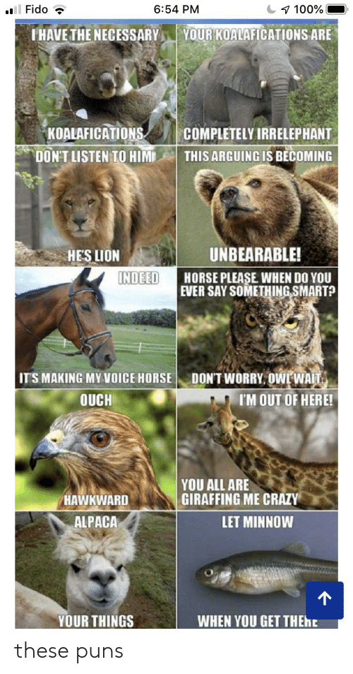The Necessary: Fido  6:54 PM  7 100%  YOUR KOALAFICATIONS ARE  IHAVE THE NECESSARY  KOALAFICATIONS  COMPLETELY IRRELEPHANT  THIS ARGUING IS BECOMING  DON'T LISTEN TO HIM  UNBEARABLE!  HES LION  INDEED  HORSE PLEASE WHEN DO YOU  EVER SAY SOMETHING SMART?  DON'T WORRY OWE WAIT  IM OUT OF HERE!  IT'S MAKING MY VOICE HORSE  OUCH  YOU ALL ARE  GIRAFFING ME CRAZY  HAWKWARD  ALPACA  LET MINNOW  YOUR THINGS  WHEN YOU GET THENE these puns