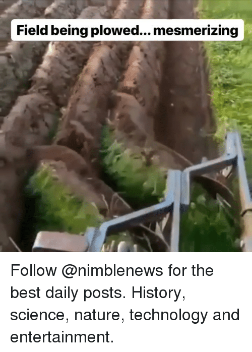 Memes, Best, and History: Field being plowed... mesmerizing Follow @nimblenews for the best daily posts. History, science, nature, technology and entertainment.