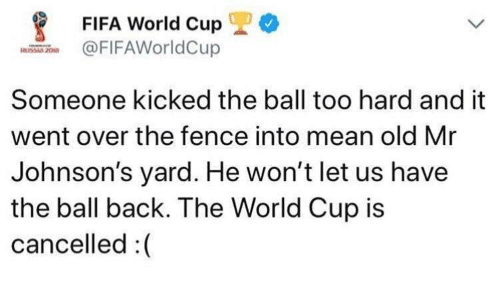 johnsons: FIFA World Cup 1) *  FIFAWorldCup  Someone kicked the ball too hard and it  went over the fence into mean old Mr  Johnson's yard. He won't let us have  the ball back. The World Cup is  cancelled:(