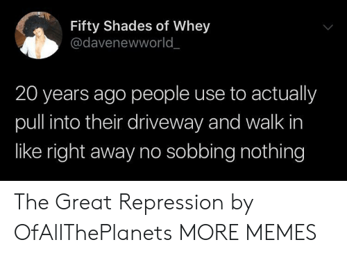 right away: Fifty Shades of Whey  @davenewworld  20 years ago people use to actually  pull into their driveway and walk in  like right away no sobbing nothing The Great Repression by OfAllThePlanets MORE MEMES