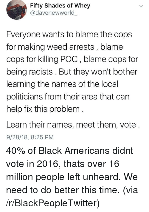 Blackpeopletwitter, Weed, and Black: Fifty Shades of Whey  @davenewworld  Everyone wants to blame the cops  for making weed arrests, blame  cops for killing POC, blame cops for  being racists. But they won't bother  learning the names of the local  politicians from their area that can  help fix this problem  Learn their names, meet them, vote  9/28/18, 8:25 PM 40% of Black Americans didnt vote in 2016, thats over 16 million people left unheard. We need to do better this time. (via /r/BlackPeopleTwitter)