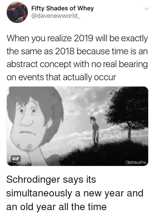 bearing: Fifty Shades of Whey  @davenewworld  When you realize 2019 will be exactly  the same as 2018 because time is an  abstract concept with no real bearing  on events that actually occur  GIF  Orphousftw Schrodinger says its simultaneously a new year and an old year all the time