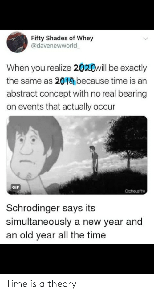 the time: Fifty Shades of Whey  @davenewworld  When you realize 2020will be exactly  the same as 2019 because time is an  abstract concept with no real bearing  on events that actually occur  GIF  aphousttw  Schrodinger says its  simultaneously a new year and  an old year all the time Time is a theory