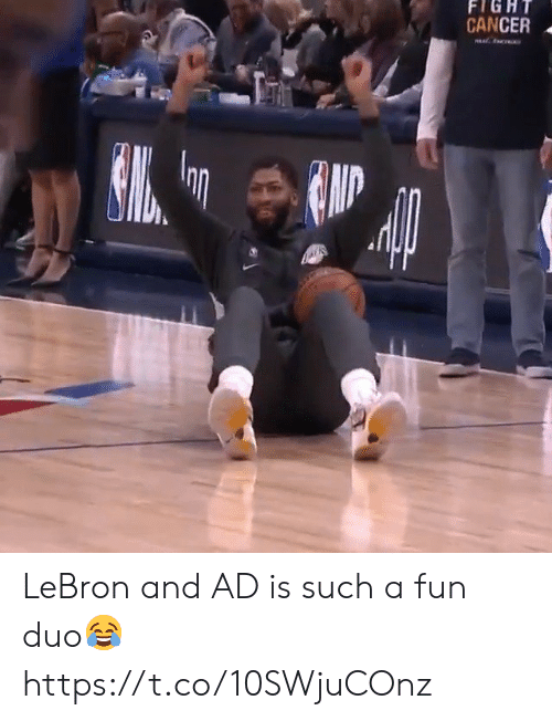 Memes, Cancer, and Lebron: FIGHT  CANCER  c LeBron and AD is such a fun duo😂 https://t.co/10SWjuCOnz