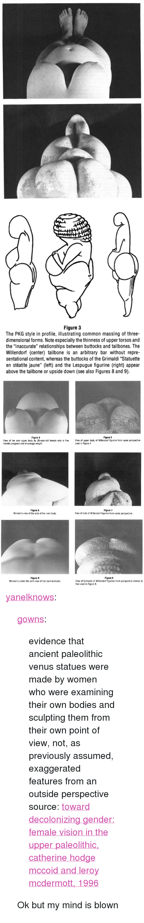 """Leroy: Figure 3  The PKG style in profile, illustrating common massing of three-  dimensional forms. Note especially the thinness of upper torsos and  the """"inaccurate"""" relationships between buttocks and tailbones. The  Willendorf (center) tailbone is an arbitrary bar without repre-  sentational content, whereas the buttocks of the Grimaldi """"Statuette  en stéatite jaune"""" (left) and the Lespugue figurine (right) appear  above the tailbone or upside down (see also Figures 8 and 9).   Figure 4  Figure 5  View of her own upper body by 26-year-old female who is five View of upper body of Willendorf figurine from same perspective  months pregnant and of average weight.  used in Figure 4   Figure 6  Woman's view of the side of her own body.  Figure 7  View of side of Willendorf figurine from same perspective.   Figure 8  Woman's under-the-arm view of her own buttocks.  Figure 9  View of buttocks of Willendorf figurine from perspective similar to  that used in Figure 8 <p><a href=""""http://yanelknows.tumblr.com/post/167147214107/gowns-evidence-that-ancient-paleolithic-venus"""" class=""""tumblr_blog"""">yanelknows</a>:</p><blockquote> <p><a href=""""http://gowns.tumblr.com/post/167128831158/evidence-that-ancient-paleolithic-venus-statues"""" class=""""tumblr_blog"""">gowns</a>:</p> <blockquote> <p>evidence that ancient paleolithic venus statues were made by women who were examining their own bodies and sculpting them from their own point of view, not, as previously assumed, exaggerated features from an outside perspective</p> <p>source: <a href=""""http://www.kbcc.cuny.edu/academicdepartments/art/Documents/durantaspaleolithicvenus.pdf"""">toward decolonizing gender: female vision in the upper paleolithic, catherine hodge mccoid and leroy mcdermott, 1996</a></p> </blockquote>  <p>Ok but my mind is blown </p> </blockquote>"""