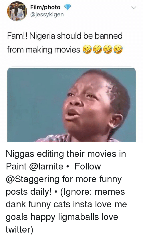 Cats, Dank, and Fam: Film/photo  @jessykigen  Fam!! Nigeria should be banned  from making movies Niggas editing their movies in Paint @larnite • ➫➫➫ Follow @Staggering for more funny posts daily! • (Ignore: memes dank funny cats insta love me goals happy ligmaballs love twitter)