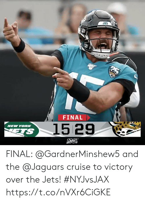 Cruise: FINAL  1529  NEW YOR  ETS FINAL: @GardnerMinshew5 and the @Jaguars cruise to victory over the Jets! #NYJvsJAX https://t.co/nVXr6CiGKE