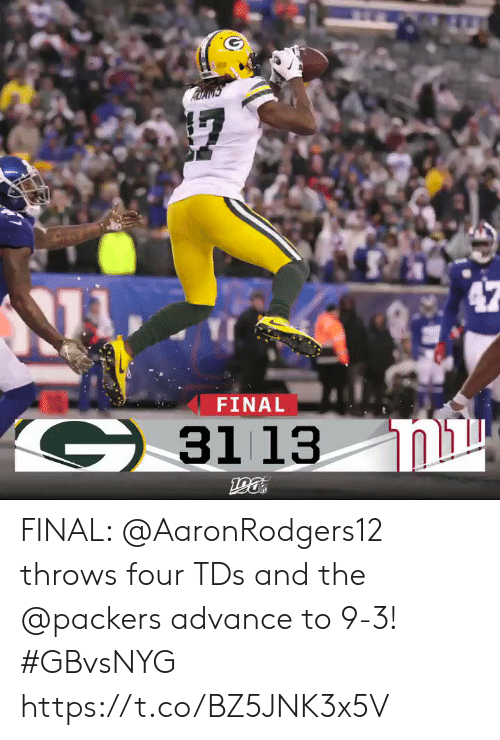Memes, Packers, and 🤖: FINAL  G3113  ומג  190 FINAL: @AaronRodgers12 throws four TDs and the @packers advance to 9-3! #GBvsNYG https://t.co/BZ5JNK3x5V