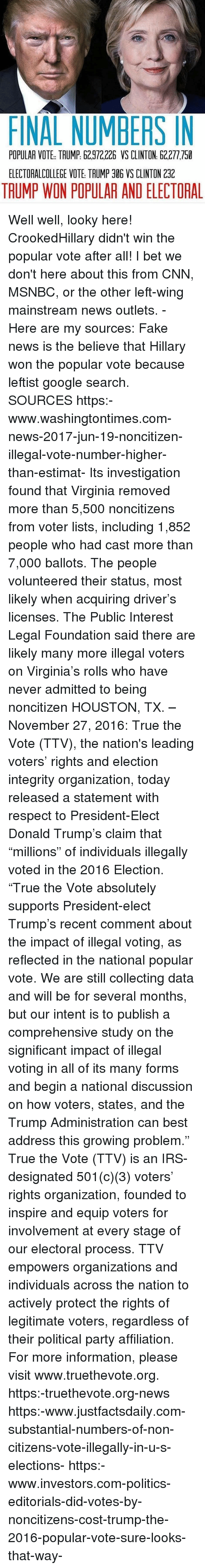 """Msnbc: FINAL NUMBERS IN  POPULAR VOTE TAUMP: 62.972,226 VS CLINTON 62.277,750  ELECTORALCOLLEGE VOTE TRUMP 306 VS CLINTON 2312  TAUMP WON POPULAR AND ELECTORAL Well well, looky here! CrookedHillary didn't win the popular vote after all! I bet we don't here about this from CNN, MSNBC, or the other left-wing mainstream news outlets. - Here are my sources: Fake news is the believe that Hillary won the popular vote because leftist google search. SOURCES https:-www.washingtontimes.com-news-2017-jun-19-noncitizen-illegal-vote-number-higher-than-estimat- Its investigation found that Virginia removed more than 5,500 noncitizens from voter lists, including 1,852 people who had cast more than 7,000 ballots. The people volunteered their status, most likely when acquiring driver's licenses. The Public Interest Legal Foundation said there are likely many more illegal voters on Virginia's rolls who have never admitted to being noncitizen HOUSTON, TX. – November 27, 2016: True the Vote (TTV), the nation's leading voters' rights and election integrity organization, today released a statement with respect to President-Elect Donald Trump's claim that """"millions"""" of individuals illegally voted in the 2016 Election. """"True the Vote absolutely supports President-elect Trump's recent comment about the impact of illegal voting, as reflected in the national popular vote. We are still collecting data and will be for several months, but our intent is to publish a comprehensive study on the significant impact of illegal voting in all of its many forms and begin a national discussion on how voters, states, and the Trump Administration can best address this growing problem."""" True the Vote (TTV) is an IRS-designated 501(c)(3) voters' rights organization, founded to inspire and equip voters for involvement at every stage of our electoral process. TTV empowers organizations and individuals across the nation to actively protect the rights of legitimate voters, regardless of their political party affi"""