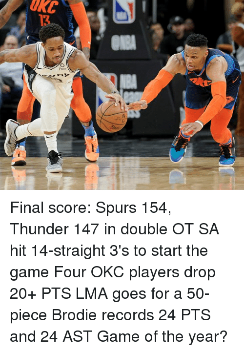The Game, Game, and Spurs: Final score: Spurs 154, Thunder 147 in double OT  SA hit 14-straight 3's to start the game Four OKC players drop 20+ PTS LMA goes for a 50-piece Brodie records 24 PTS and 24 AST  Game of the year?