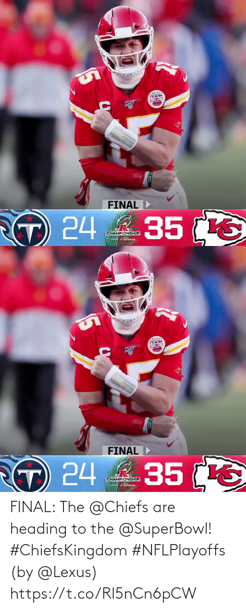 Superbowl: FINAL: The @Chiefs are heading to the @SuperBowl! #ChiefsKingdom #NFLPlayoffs  (by @Lexus) https://t.co/Rl5nCn6pCW