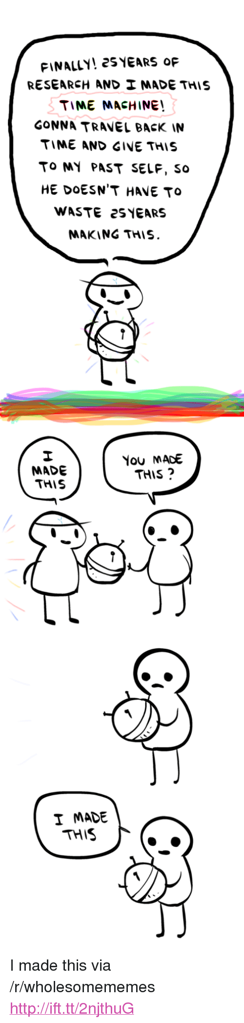 """Gine: FINALLY! 2SYEARS oF  RESEARCH AND  MADE THIS  TIME MACHINE  GONNA TRAVEL BACK IN  TIME AND GINE THIS  TO MY PAST SELF, so  HE DOESN'T HAVE TO  WASTE 2S YEARS  MAKING THIS.  MADE  THIS  You MACE  THIS?  I MADE  THIS <p>I made this via /r/wholesomememes <a href=""""http://ift.tt/2njthuG"""">http://ift.tt/2njthuG</a></p>"""