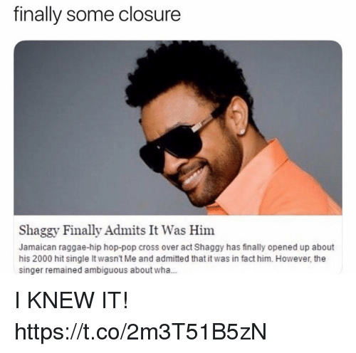 Funny, Pop, and Ambiguous: finally some closure  Shaggy Finally Admits It Was Him  Jamaican raggae-hip hop-pop cross over act Shaggy has finally opened up about  his 2000 hit single It wasn't Me and admitted that it was in fact him. However, the  singer remained ambiguous about wha... I KNEW IT! https://t.co/2m3T51B5zN