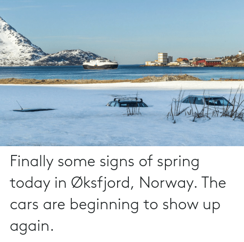 Spring: Finally some signs of spring today in Øksfjord, Norway. The cars are beginning to show up again.