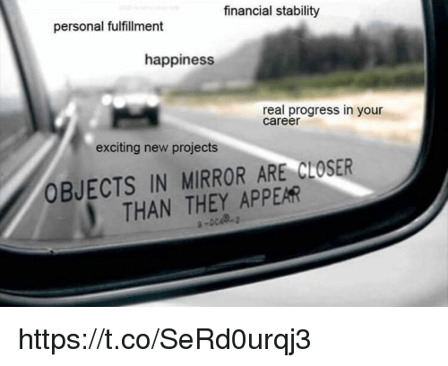 Fulfillment: financial stability  personal fulfillment  happiness  real progress in your  career  exciting new projects  OBJECTS IN MIRROR ARE CLOSER  THAN THEY APPEAR https://t.co/SeRd0urqj3