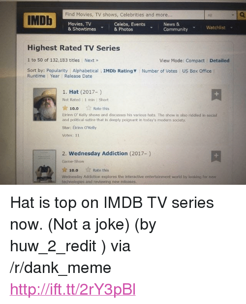 """Community, Dank, and Meme: Find Movies, TV shows, Celebrities and more.  IMDh  All  Movies, TV  & Showtimes& Photos  Celebs, Events  News &  Community Watchlist  Highest Rated TV Series  1 to 50 of 132,183 titles Next»  Sort by: Popularity Alphabetical IMDb Rating  View Mode: Compact  Detailed  Number of Votes US Box Office  Runtime Year Release Date  1. Hat (2017-)  Not Rated 1 min Short  ☆ 10.0  Eirinn O' Kelly shows and discusses his various hats. The show is also riddled in social  and political satire that is deeply poignant in today's modern society  Star: Eirinn O'Kelly  Votes: 11  ☆ Rate this  2. Wednesday Addiction (2017-)  Game-Show  10.0  Rate this  Wednesday Addiction explores the interactive entertainment world by looking for new  technologles and revlewing new releases. <p>Hat is top on IMDB TV series now. (Not a joke) (by huw_2_redit ) via /r/dank_meme <a href=""""http://ift.tt/2rY3pBl"""">http://ift.tt/2rY3pBl</a></p>"""
