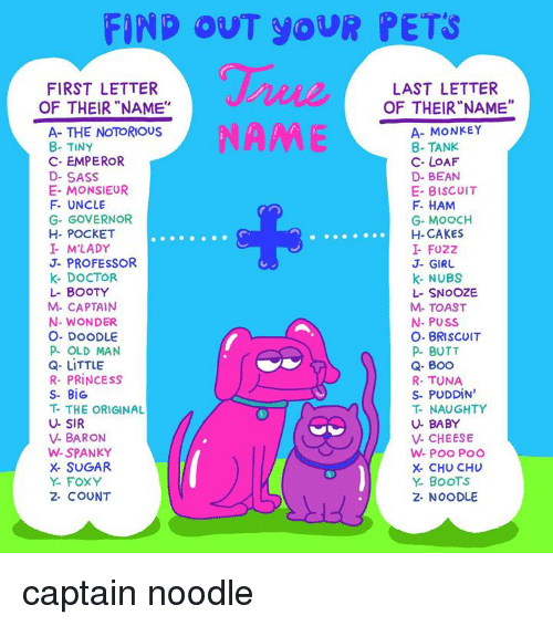 """baron: FIND OUT YOUR PETS  FIRST LETTER  OF THEIR""""NAME""""  LAST LETTER  OF THEIR""""NAME""""  NAME  A- THE NOTORIOUS  8- TINY  C- EMPEROR  D- SASS  E- MONSIEUR  F- UNCLE  G- GOVERNOR  H- POCKET  I M'LADY  J- PROFESSOR  K- DOCTOR  L- BOOTY  M- CAPTAIN  N- WONDER  O. DOODLE  P OLD MAN  Q- LITTLE  R- PRINCESS  S- BiG  T- THE ORIGINAL  U- SIR  V- BARON  W-SPANKY  X- SUGAR  Y- FOXY  2- COUNT  A- MONKEY  8- TANK  C- LOAF  D- BEAN  E- BISCUIT  F HAM  G- MOOCH  H- CAKES  I- FUZZ  J- GIRU  k- NUBS  L- SNOOZE  M- TOAST  N- PUSS  O- BRISCOIT  P BUTT  Q- Boo  R- TUNA  S- PUDDIN  T- NAUGHTY  U- BABY  V- CHEESE  X- CHU CHU  Y. BoOTS  2- NOODLE captain noodle"""