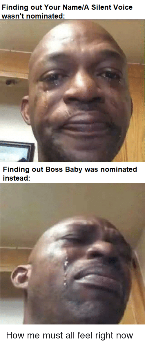 Anime, Voice, and Baby: Finding out Your Name/A Silent Voice  wasn't nominated:  Finding out BoSS Baby was nominated  instead:
