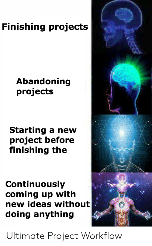 starting a: Finishing projects  Abandoning  projects  Starting a new  project before  finishing the  Continuously  coming up with  new ideas without  doing anything Ultimate Project Workflow