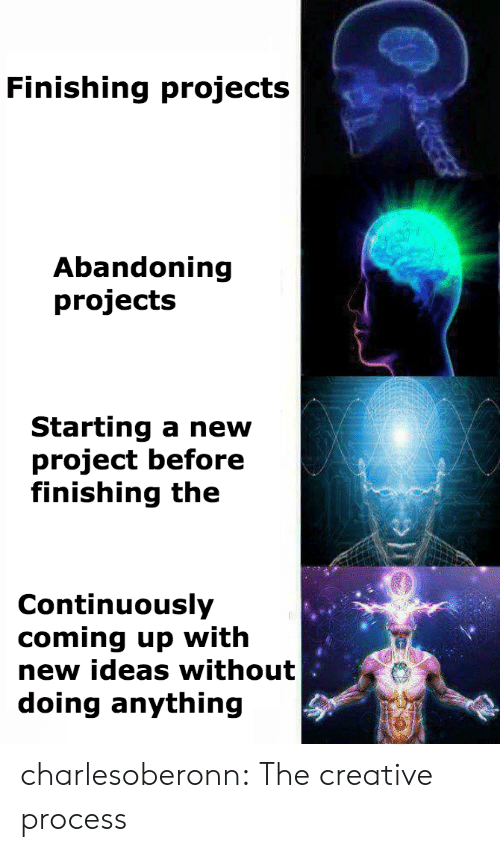 Tumblr, Blog, and Http: Finishing projects  Abandoning  projects  Starting a new  project before  finishing the  Continuously  coming up with  new ideas without  doing anything charlesoberonn: The creative process