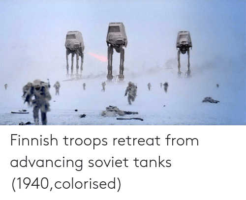 Soviet, Tanks, and Finnish: Finnish troops retreat from advancing soviet tanks (1940,colorised)
