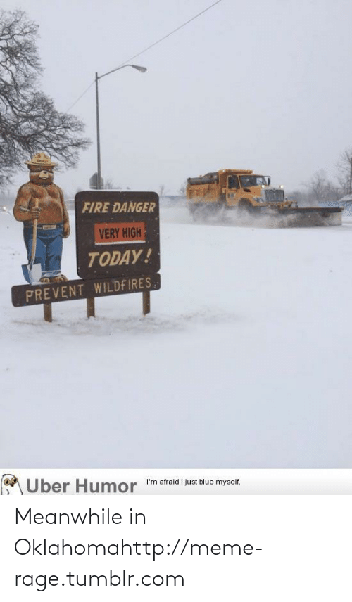 Very High: FIRE DANGER  VERY HIGH  TODAY!  PREVENT WILDFIRES  Uber Humor  I'm afraid I just blue myself. Meanwhile in Oklahomahttp://meme-rage.tumblr.com