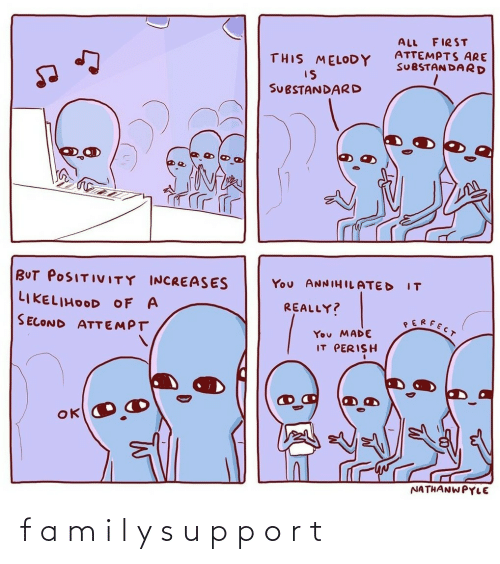 a&m: FIRST  ALL  ATTEMPTS ARE  SUBSTAN DARD  THIS MELODY  IS  SUBSTANDARD  BUT POSITIVITY INCREASES  You ANNIHILATED  IT  LIKELIHOOD OF A  REALLY?  SERFECT  SECOND ATTEMPT  You MADE  IT PERISH  NATHANWPYLE f a m i l y s u p p o r t