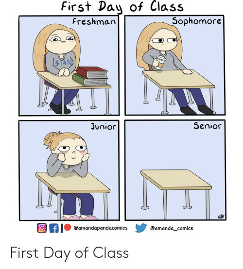 Comics, Class, and Day: First Day of Class  Sophomore  Freshman  3TATE  Senior  Junior  Of  @amandapandacomics  @amanda_comics First Day of Class