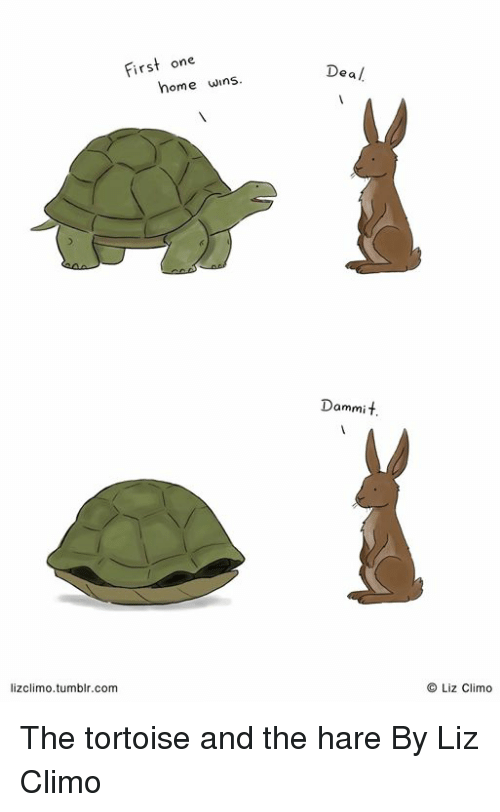 Dank, Tumblr, and Home: First one  Deal  home wins  Dammit  lizclimo.tumblr.com  O Liz Climo The tortoise and the hare  By Liz Climo